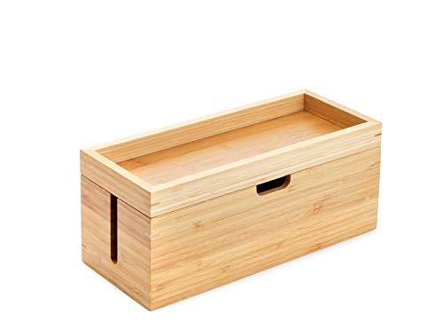 KD Essentials - Aufbewahrungsbox aus Bambus, mit Deckel - (geeignet um Ladegeräte & Steckdosenleisten sowie Kabel zu verstauen, Kabelbox für Kabelmanagement, gefertigt aus Holz)