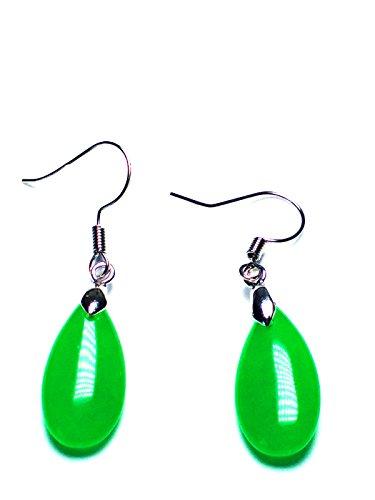 Plata de Ley 925Gema de Jade verde diseño pendientes de gota