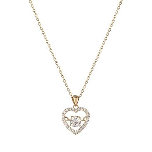 ZRJ Collar Collar Colgante del corazón 925 Collar de circón con Incrustaciones de Oro Plateado para Mujer, Collar Exquisito del Cuello para Grandes Regalos-Oro Decoraciones