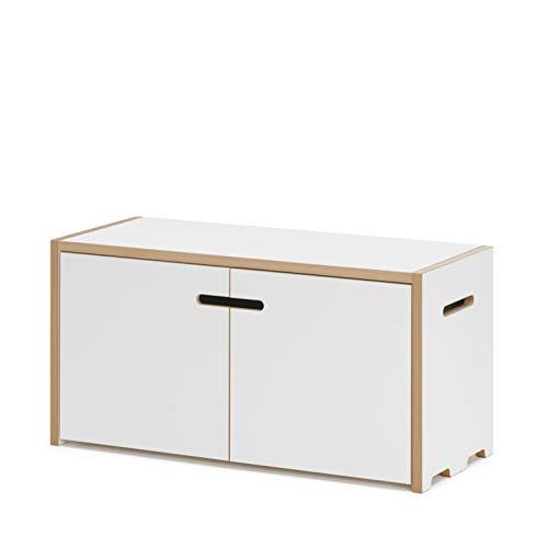 Tojo Hochstapler I Grundmodul für modulares Regalsystem mit Türen I Grundmodul für EIN individuelles Wandregal, Bücherregal, CD Regal I MDF Regal Farbe Weiß