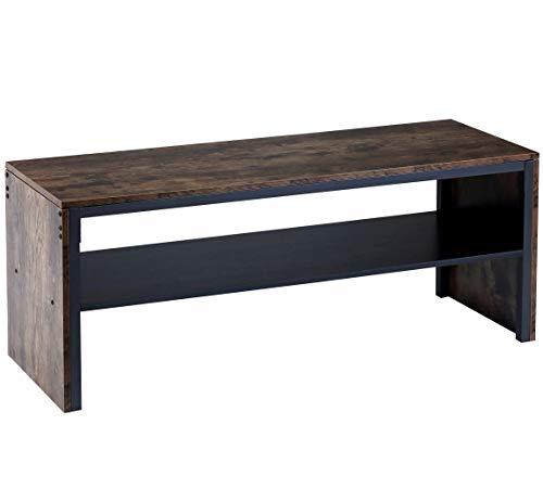 BOTONE Breite TV-Bank, Fernsehtisch, Konsole aus dunklem Holz mit stabilem, schmalen Metallrahmen und zweiter Abage für Wohnzimmer oder Schlafzimmer; (120x40x50cm)