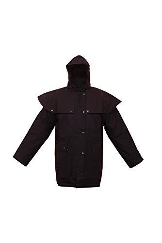 Itadia Men's Brown 100% Cotton Oil Skin Duster Jacket   Short Coat for Men, Braun, XXL