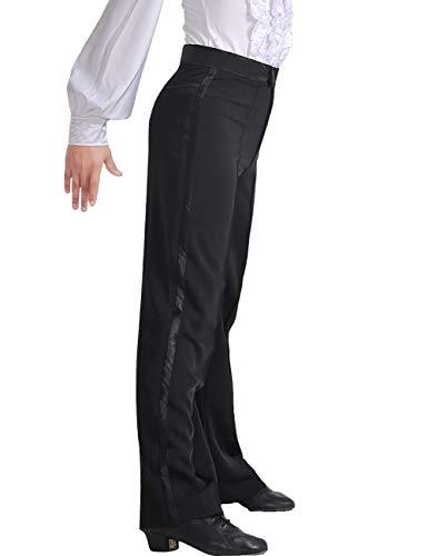 Daydance Men's Latin Pants Ballroom Salsa Tango Modern Dance Trousers with Side Stripes Long and not Hemmed Leggings