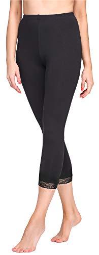 Merry Style Damen 3/4 Leggings MS10-290(Schwarz, M)