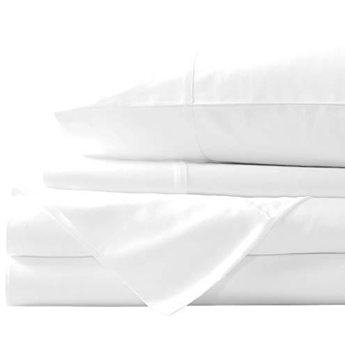 Airomis 800 TC Cotton Bed Sheets on Amazon - 4 Pc White, Twin Sheet Set, Single Ply Long Staple Cotton Yarns, Best Luxury Hotel Sheets Like Sateen Weave, Fits Mattress Upto 24'' Deep Pocket