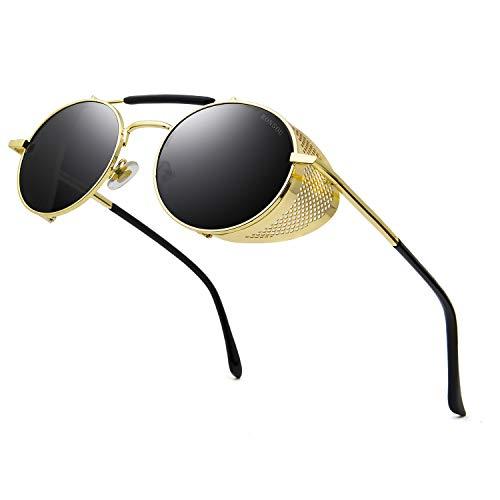 RONSOU Steampunk Stil Rund Vintage Sonnenbrillen Retro Brillen UV400 Schutz Metall Rahmen gold rahmen/grau linse