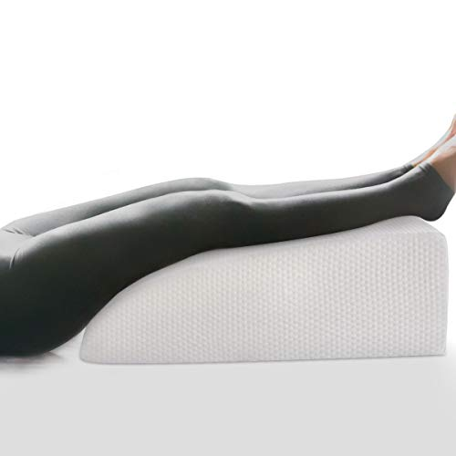 """OasisCraft 8"""" Leg Elevation Pillow, Leg Rest Pillow Bed Wedge Post Surgery Elevated Cushion 1.5"""" Memory Foam Leg Pillow for Back, Hip and Knee Pain Relief, Foot and Ankle Injury - Removable Cover"""