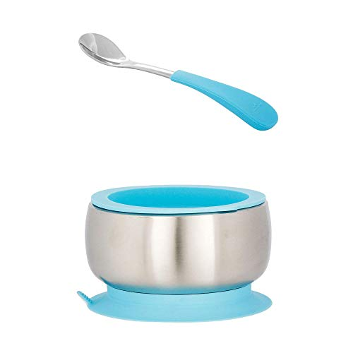 Avanchy Infant Stainless Steel Silicon Suction Bowl & Infant Spoon - Suction Bowls with Lids - Silicon Suction - Stay Put Bowl (Blue)