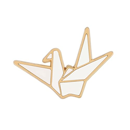 Broche de grúa de papel creativo con diseño de animales de origami solapa de esmalte de dibujos animados hebilla insignia Lucky Blessing joyería regalo para amigos
