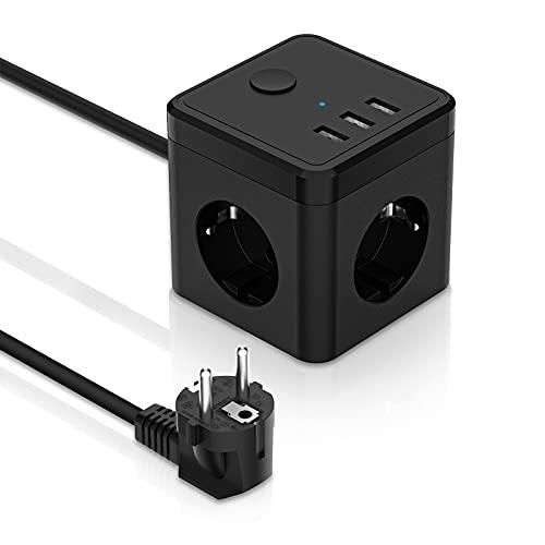 Cubo Regleta Enchufes con Regleta de 3 Salidas, con 3 para Carga de USB, Alargadera Electrica Protección Contra Sobretensiones para el hogar, la oficina y los ViajesCable 1.8M, Negro
