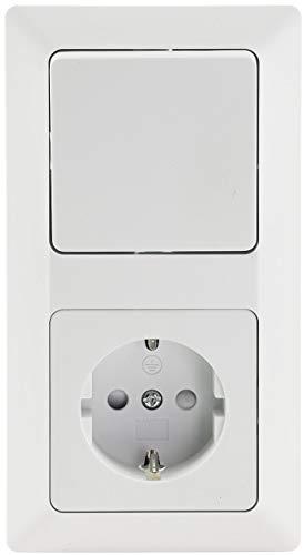 MILOS Steckdose mit Schalter im 2-fach Rahmen Unterputz Wechselschalter & 230V UP Steckdose mit erhöhtem Berührungsschutz Klemm Anschluss Matt Weiß