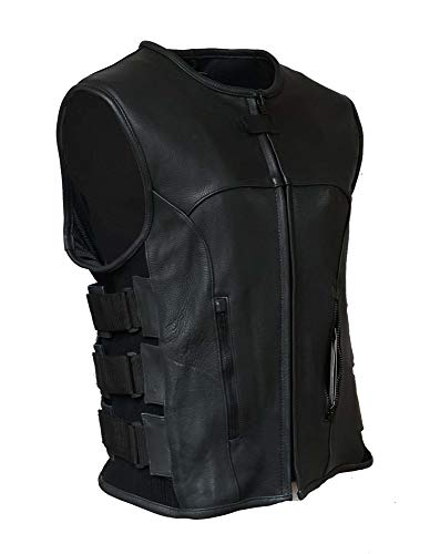 IKLeather Swat Style Leather Vest Mens Motorcycle Biker Tactical Black Stretch (4XL)