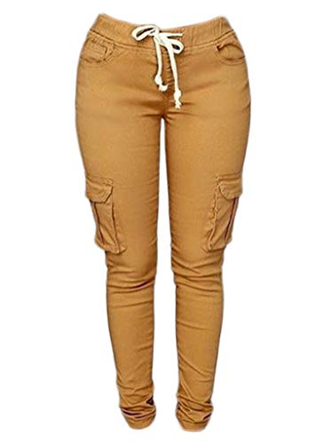 Great Deal! Andongnywell Jogger Scrub Pants for Women, Skinny Leg Joggers Stretch Drawstring Skinny ...