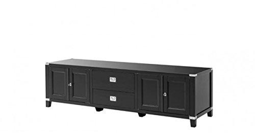 Casa Padrino Luxury Birch Wood Television Cabinet Black 180 x 50 x H. 50 cm - Luxury TV Cabinet