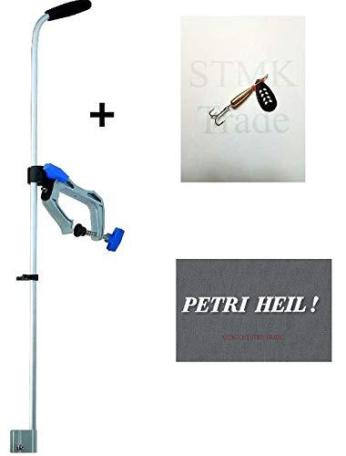 Jenzi, set di aste per trasduttore ecoscandaglio, fissaggio barche per  trasduttore, 85 cm, con spinner e adesivo Petri in omaggio. Adesivo.