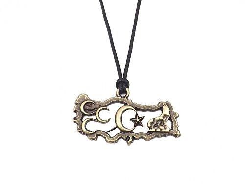 Gök-Türk Halskette für Herren Unisex mit Anhänger 'Türkei' Halbmond Wolf - Schwarze Schnur