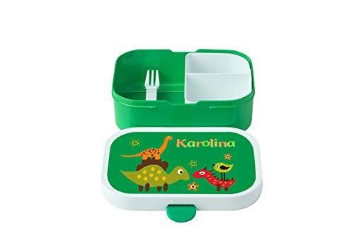 wolga-kreativ Brotdose Dino mit Namen grün Rosti Mepal Obsteinsatz für Mädchen Jungen Lunchbox Bento Box personalisiert Brotbüchse Brotdosen Kindergarten Schule