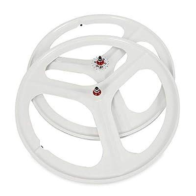 DYRABREST 700C Fixed Gear Wheels, 3 Spoke Rim Single Speed Front Rear Fixie Bicycle Wheels Track Wheel Clincher Type Bike Wheel (Wheel Set (Front & Rear) White)