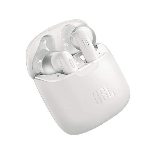 JBL Tune 220 TWS Lifestyle Bluetooth Kopfhörer in Weiß – Kabellose Sport Ohrhörer für bis zu 3 Stunden Musikgenuss mit nur eine Akku-Ladung – Inkl. Ladecase