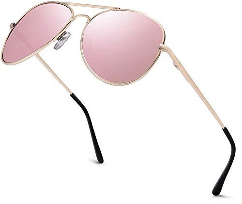Herren Pilotenbrille Verspiegelt | Damen Sonnenbrille | Unisex Brille mit Federschrnier | UV400 Schutz Filter Kat. 3 CE (85 | Rahmen Gold - Glas Pink/Rosa verspiegelt)