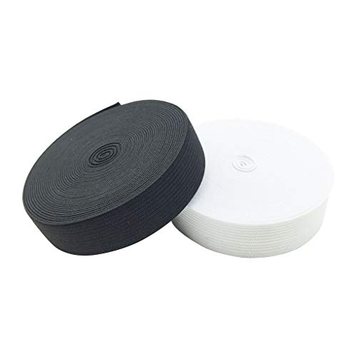 HYHP 2 Pcs 3/4 inch Wide Sewing Elastic Band Elastics, Elastic Band for Sewing, 5 Yard for White and 5 Yard for Black