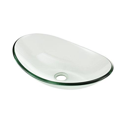[neu.haus] Lavabo Lujoso en Forma Ronda - (47x30,5cm) - Lavabos sobre encimera - cristal de seguridad - transparente