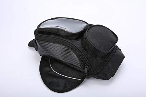 mendlor Motorcycle Tank Bag, Water Resistant with Super Strong Magnetic Gas Oil Fuel Tank Bag Black Bigger Window for Honda Yamaha Suzuki Kawasaki Harley
