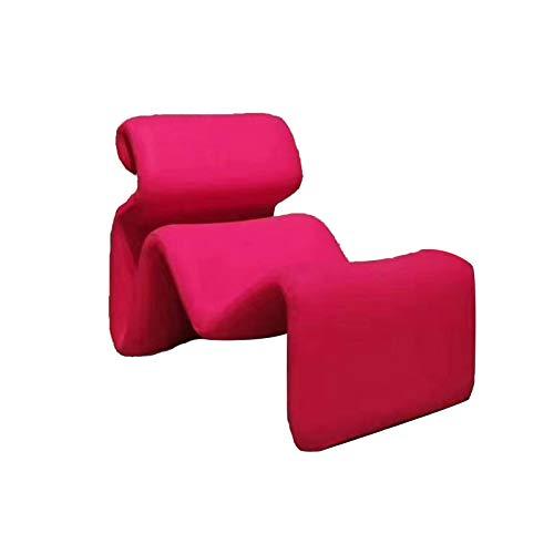 Sofá curvo de una sola serpentina formada, sala de estar, muebles de decoración de dormitorio de estudio, esqueleto de madera, azul rojo, rosa rosa de cerezo