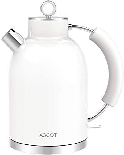 Wasserkocher Edelstahl, ASCOT 1.6 Liter Elektrischer Wasserkocher, BPA frei, Schnurlos mit 2200 Watt, Automatisch Abschaltung, Retro Design Kleiner Reisewasserkocher, Kompakter Teekocher-Weiß