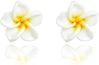 Libaraba Sweet Frangipani Flower Earrings (White and Yellow),Summer Earrings