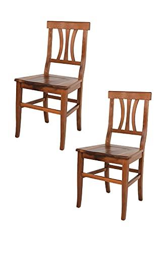 Tommychairs - Set 2 sillas Artemisia para Cocina y Comedor, Estructura y Asiento en Madera de Haya Pintada en Color Nogal Antiguo