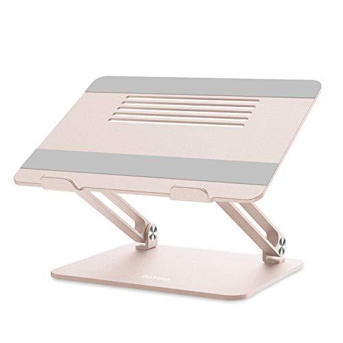 BoYata ノートパソコンスタンド PCスタンド タブレットスタンド 人間工学設計 無段階高さ調整可能 姿勢改善 折りたたみ式 滑り止め アルミ合金製 優れた放熱性 17インチまでのデバイスに対応