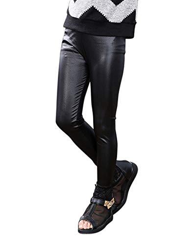 DianShaoA Niña Leggins PU Cuero Artificial Leggings Cintura Elástica Pantalones De Lápiz Jeggings