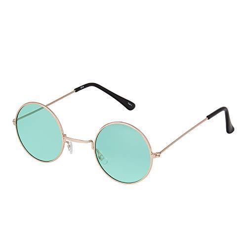 Ultra Pequeño Oro con Verde Lente Gafas de Sol Hombre Mujeres Retro Redondas Adulto Estilo Pequeñas John Lennon Gafas de Sol Mujer Gafas Sol Hombre Espejo Redondo Gafas Sol Clásicos UV400