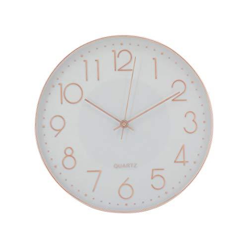 Elegance by Casa Chic - Wanduhr - 30 cm Durchmesser - Leises Quarz Uhrwerk - Weiß & Rosegold