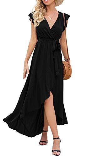 GRECERELLE Women's Summer Casual Cross V Neck Dress Bohemian Flowy Long Maxi Dresses Black-Medium