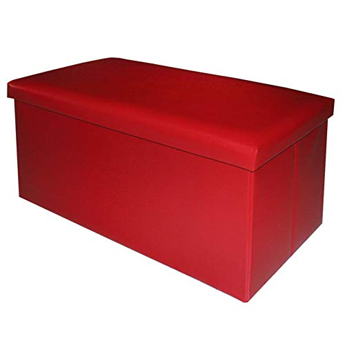 Puff Plegable Minimalista Rojo de PU para salón Basic - LOLAhome