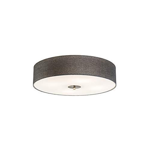 QAZQA - Modern Ländliche Deckenleuchte   Deckenlampe   Lampe   Leuchte grau 50 cm - Drum mit Schirm Jute  4-flammig   Wohnzimmer   Schlafzimmer   Küche - Textil Rund - LED geeignet E27