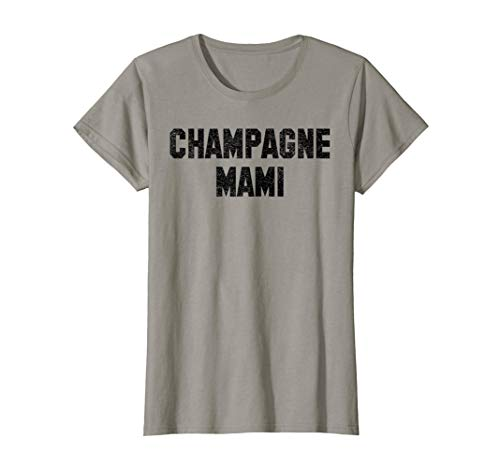 Womens Champagne Mami Black Distressed Funny Celebration Shirt