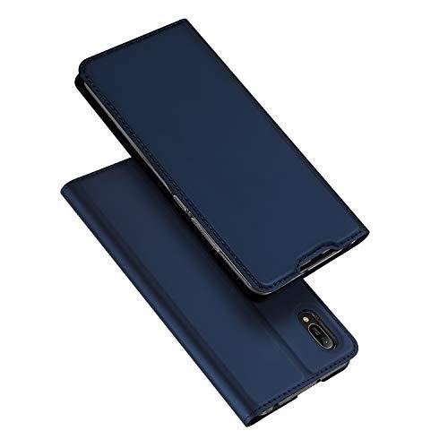 DUX DUCIS Hülle für Huawei Y6 2019, Leder Flip Handyhülle Schutzhülle Tasche Hülle mit [Kartenfach] [Standfunktion] [Magnetverschluss] für Huawei Y6 2019 (Blau)