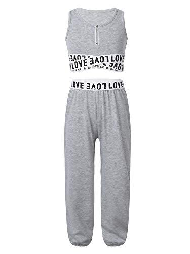 YiZYiF Conjunto de Chándales de Gimnasia para Niñas Camiseta sin Mangas con Pantalones para Deportes Yoga Entrenamiento Fitness Gris 13-14 años