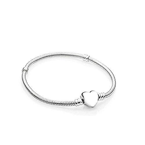 Damen Armband für Charm Beads Perle Anhänger Edelstahl Armreif Pandora style Charms kompatibel Modell A-925 Herz 17cm