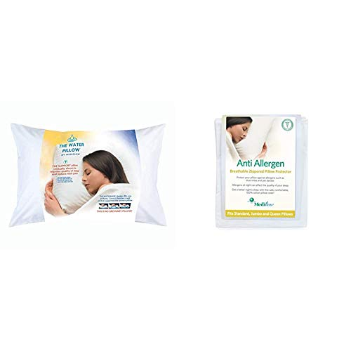 """Mediflow First & Original Water Pillow, clinically Proven to Reduce Neck Pain. White & 1620-06 Anti-Allergen Pillow Protector 100% Cotton – 240 Thread Count, 1'8"""" x 2'4"""", White"""
