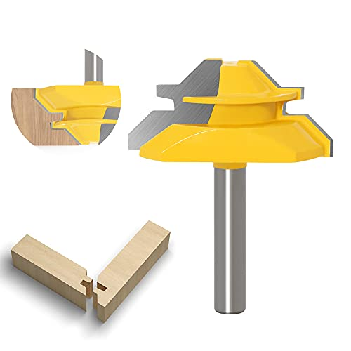 ASNOMY Schaft 8mm Verleimfräser Gehrung Verleimfräser Oberfräse 45 Grad Lock Miter Router Bit Holzbearbeitung Fräser Schneidwerkzeug für Graviermaschine Trimmmaschine