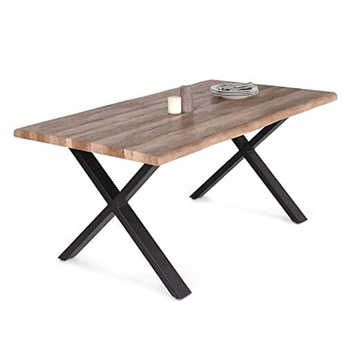 IDMarket - Table à Manger Dakota 6 Personnes Pieds Forme en X Design Industriel 160 cm