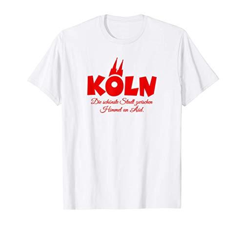 Köln, die schönste Stadt zwischen Himmel un Ääd (Rot) Köln T-Shirt