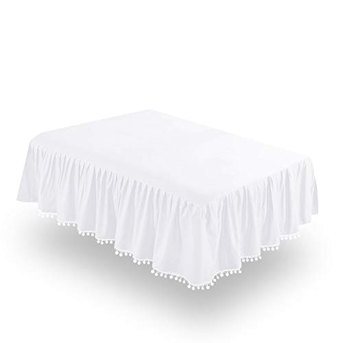 """Biloban White Crib Skirt Pleated with Lovely Pompoms, Bedding Dust Ruffle for Baby Girls and Baby Boys, 14"""" Drop, Fit All Standard Crib Bed,White, Microfiber."""