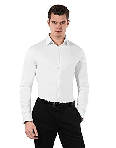 Vincenzo Boretti Herren-Hemd Body-Fit (besonders Slim-fit tailliert) Uni-Farben bügelleicht - Männer lang-arm Hemden für Anzug Krawatte Business Hochzeit Freizeit weiß 39-40