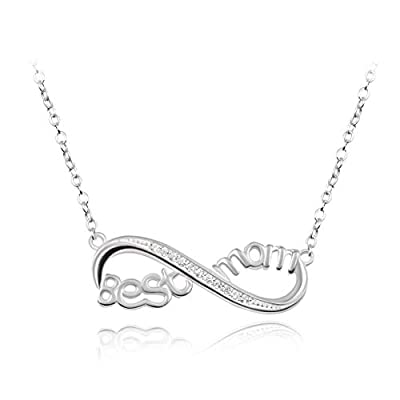 "Sterling Silver Engraved ""Best Mom"" Infinity ..."