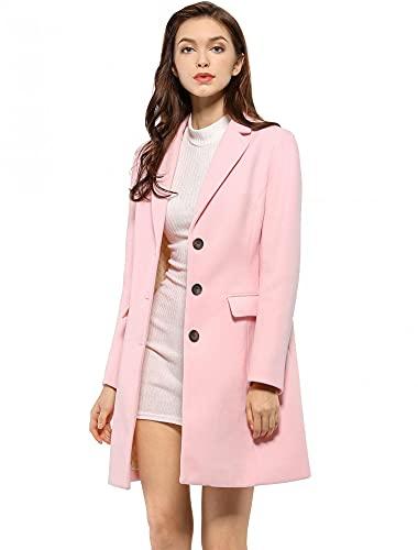 Allegra K Women's Notched Lapel Single Breasted Outwear Winter Coat Medium Pink